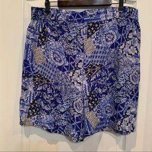Oscar de la Renta 100% Silk Shorts Blue Floral 1X